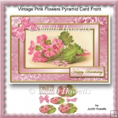 Vintage Pink Flowers Pyramid Card Front
