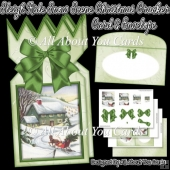 Sleigh Ride Snow Scene Christmas Cracker Card & Envelope