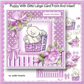 Puppy With Gifts Large Card Front And Insert