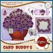 Pretty Purple Pot Plant Shaped Fold Card Kit