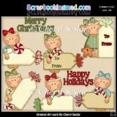 Miss Ginger Christmas Tags ClipArt Collection