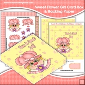 Sweet Flower Girl PDF Decoupage Card Box & Backing Paper