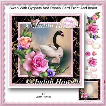 Swan With Cygnets And Roses Card Front And Insert