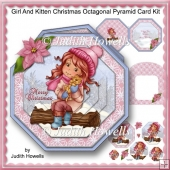 Girl And Kitten Christmas Octagonal Pyramid Card Kit