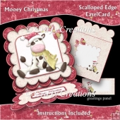 Mooey Christmas Scalloped Edge Easel Card