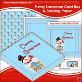 Funny Christmas Snowman PDF Decoupage Card Box & Backing Paper