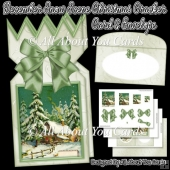 December Snow Scene Christmas Cracker Card & Envelope