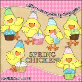 Little Chicks Cupcakes ClipArt Graphic Collection