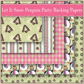5 Let It Snow Penguin Party Backing Papers Download (C192)