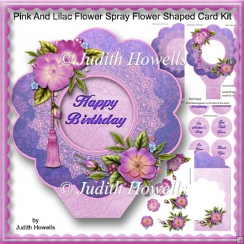Pink And Lilac Flower Spray Flower Shaped Card Kit
