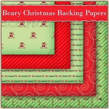 5 Beary Christmas Backing Papers Download (C177)