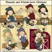 Hannah and Friends Love Chickens ClipArt Graphic Collection