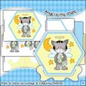 Angel Kittie Plate, Stand & Backing Paper