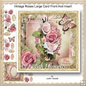 Vintage Roses Large Card Front And Insert