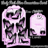 Lady Pink Shoe Concertina Card
