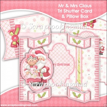 Mr & Mrs Claus Tri Shutter Card With Matching Pillow Box