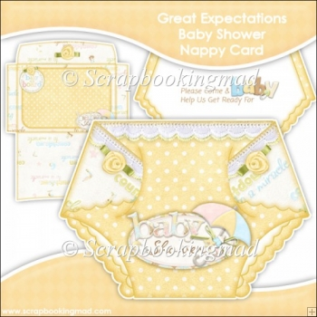 Great Expectations Baby Shower Nappy Card Invitation