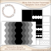 Wavy Side Stacker Pyramage Template 15cm x10cm Commercial Use Ok