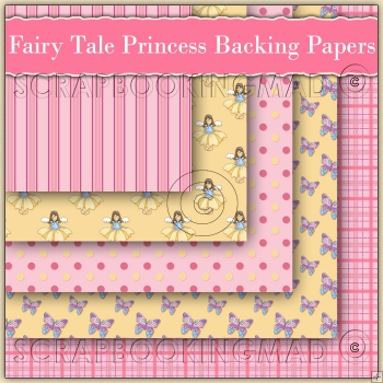 5 Fairy Tale Princess Backing Papers Download (C166)