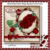 Red Roses Bow Wrap Square Card Front
