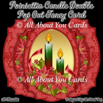 Poinsettia Candle Double Pop Out Card