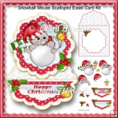 Snowball Mouse Scalloped Easel Card Kit