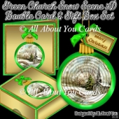 Green Church Snow Scene 3D Bauble Card And Gift Box Set