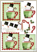 Christmas Cup Of Snowman Cheer PDF Decoupage Download