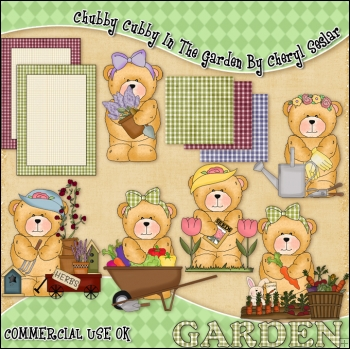Chubby Cubby In The Garden ClipArt Graphic Collection