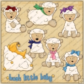 Hush Lil Baby Lamb ClipArt Graphic Collection