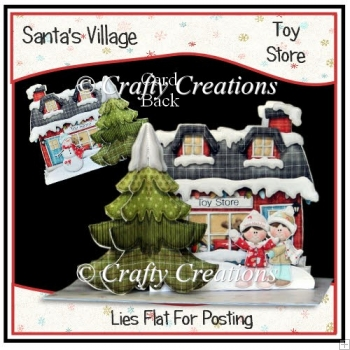Santa's Village 3D Tree Card - Toy Store