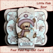 Little Pink Bear Four Fold Pop Out Card