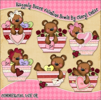 Raggedy Bears Valentine Bowls ClipArt Graphic Collection