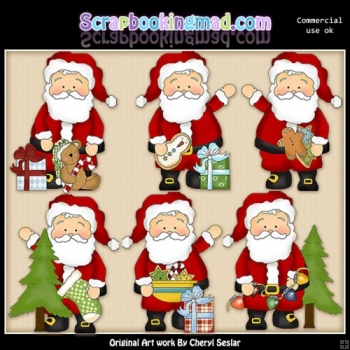 Whimsical Santa Christmas Eve ClipArt Collection