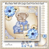 Blue Bear With Gift Large Card Front And Insert