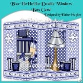 Blue HoHoHo Double Window Box Card