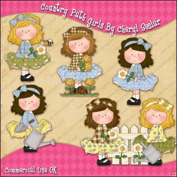 Country Path Girls ClipArt Graphic Collection