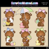 Baby Bailey Bear ClipArt Graphic Collection