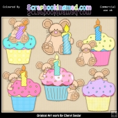 Cupcake Mice ClipArt Graphic Collection