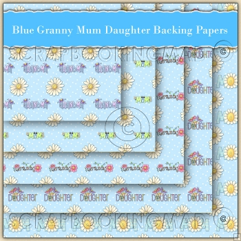5 Blue Granny Mum & Daughter Backing Papers Download (C131)