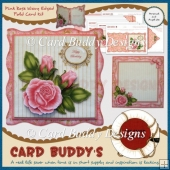 Pink Rose Wavy Edged Fold Card Kit