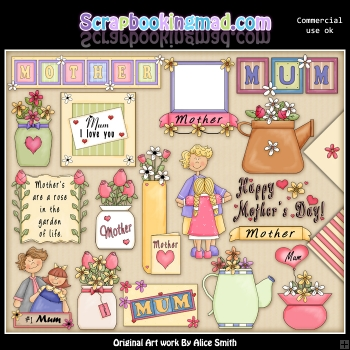 Mothers Day 3 ClipArt Graphic Collection