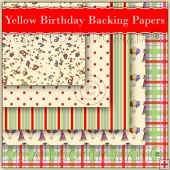 5 Yellow Birthday Backing Papers Download (C56)