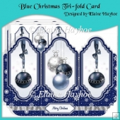 Blue Christmas Tri-fold Card