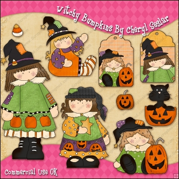 Witchy Bumpkins ClipArt Graphic Collection