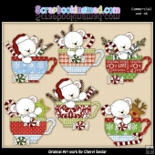 Polar Bear Christmas Teacups ClipArt Collection