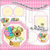 Stuffed Bear Birthday Octagonal Card, Insert & Envelope