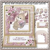 Bunny With Christmas Gift Large Easel Card Kit