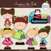 Pretty Purse Girls 1 ClipArt Graphic Collection