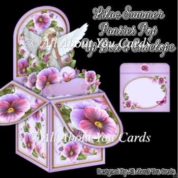 Lilac Summer Pansies Pop Up Box Card